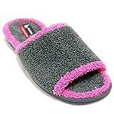 Vulcabicha 909 - Zapatillas de rizo abiertas para mujer en diferentes colores - Gris, 37