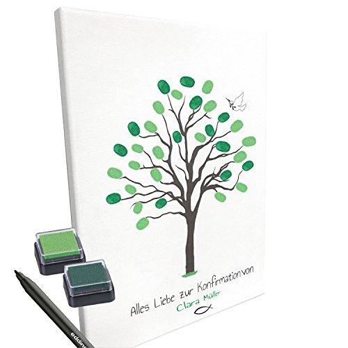KATINGA Personalisierte Leinwand zur KONFIRMATION -Motiv Baum- als Gästebuch für Fingerabdrücke (30x40cm, inkl. Stift + Stempelkissen) (mit Name)
