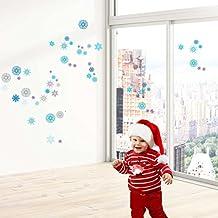 Copos de nieve de la Navidad pegatinas de pared. Vinilo autoadhesivo decoración para el hogar, ventanas o paredes rápido... 60X30 CM en juego