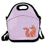kkwodwcx zorro rojo patrón de color morado con aislamiento bolsa para el almuerzo Bolsas de picnic Gourmet bolsas de almuerzo reutilizables para trabajo de la escuela–mejor bolsa de viaje