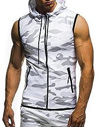 18b3f97c082c2c HARRYSTORE Men T-shirt Sports Zipper Hooded Vest Tops