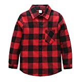 Grandwish Kids Long Sleeve Plaid Cotton Shirt Red Black 9-10 Years