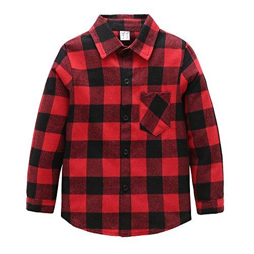 flanellhemd rot schwarz kariert Grandwish Jungen Kariertes Hemd Langarm-Shirts für Mädchen Rot Schwarz Gr.128