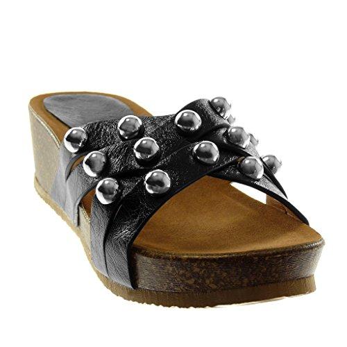 on Della Angkorly Cm Multi Mulo strap Perla Costellato Scarpa 5 Sandalo Slip Modo Nero Donna Tacco Piattaforma Compensato aqxIf8qdw