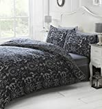 Art Damask Style Double Duvet Cover Set with Matching Pillowcase, Bed Linen, Black
