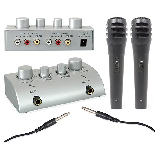 Kit System Karaoke mit 2Mikrofonen und Mischpult Mixer REGLABLE Effekt Echo