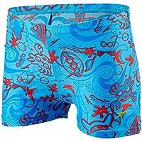 Speedo Seasquad Allover Aquashort Pantalón Corto, Bebé-Niños, neón/Rojo Riesgo/Azul japón, 5YRS