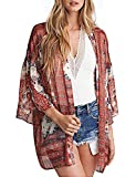 Abollria Damen Kimono Cardigan Chiffon Sommerkleid Floral Print Knielang Beach Cover up Leicht Tuch für die Sommermonate am Strand oder See (M, Orange)