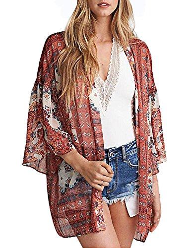 Abollria Damen Kimono Cardigan Chiffon Sommerkleid Floral Print Knielang Beach Cover up Leicht Tuch für die Sommermonate am Strand oder See (L, Orange) (Cardigan Tuch,)