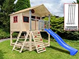 Scheffer Outdoor-Toys Stelzenhaus mit Kletterwand und Sandkasten Tobi4you. Kinderspielhaus, Rutsche wählen:Blaue Rutsche, Sicherheit wählen:4X Bodenanker