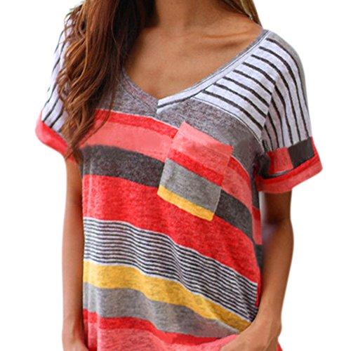 LAEMILIA Damen T-Shirt Sommer Kurzarm Streifen Tops V-Neck Oberteil Mode Weich Bluse Loose Casual (Damen-streifen-t-shirt)