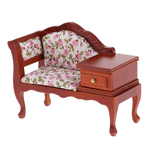 Unbekannt 1:12 Puppenhaus Miniatur Möbel Vintage Holz Chaise Lounge Mit Schublade -