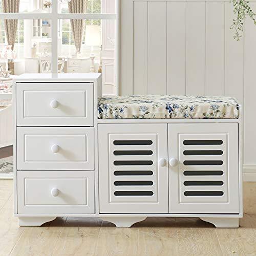 Weiß Holz Double Layer Schuhregal Regal mit 2 Türen und 3 Schubladen, Mehrzweck-Schuhregal mit abnehmbarem Kissen, Ottomans Bank Fußstütze Hocker für Flur -