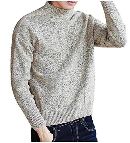 Tootlessly-Men Classic Turtleneck Jacquard Solid Colored Thin Knitwear
