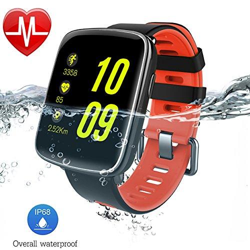 AsiaLONG IP68 Wasserdicht Smartwatch Uhr Bluetooth Smart Watch Sport Armbanduhr Fitness Tracker mit Herzfrequenz/Schrittzähler/Schlaftracker/Romte Capture/SMS Facebook Vibration/Stoppuhr Kompatibel mit Android IOS Smartphone (Rot)
