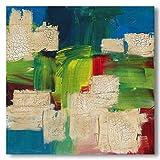 Bild abstrakt - grün - blau - modern -Wandbild - Acryl - quadatisch - handgemalt - 40 * 40 cm