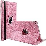 iPad Mini Coque, elecfan® 360° Rotation Étui pour iPad Mini 1/iPad Mini 2/iPad mini 3en cuir lederhülle Case Smart Cover poche Motif floral Flip Case Cover avec fonction support pour iPad mini 123, Rosa, iPad Mini 4