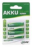 InLine 01289 NiMH-Akku, Micro (AAA), 900mAh, vorgeladen, im 4er Blister schwarz