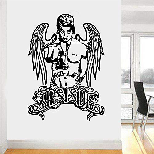 Tupac Westside Thug Life Rapper Hip Hop Legende Vinyl Wohnzimmer Raum Wandaufkleber Wohnkultur Aufkleber 58 * 80 cm
