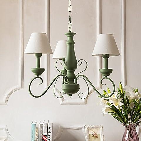 GQLB French pastoral Mediterranean E27 * 3 living room bedroom green simple fashion fresh iron chandelier diameter 600MM high 450MM,