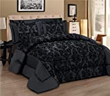 LUXURY 3pcs Flock Quilted Bed Spread Bedspread Comforter Set Size Double King UK Fusion (TM) (Double, Black)