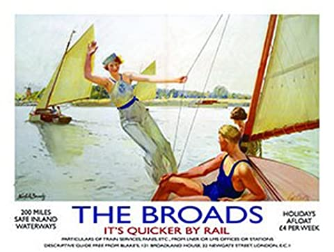 The Broads. Norfolk. Old retro vintage holiday advert. Day on the water, boating, sailing. 1920's era. Painting. For house, home, bar, pub or shop or bathroom. Its quicker by rail train, stream, locomotive, engine. Medium Metal/Steel Wall
