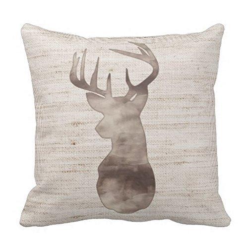 Rustic Watercolor Deer Head on Burlap Throw Pillow Case 18\
