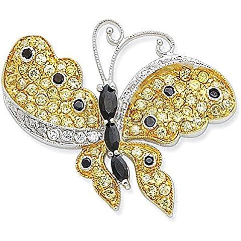 Sterling Silver Vermeil multicolore CZ farfalla scorrevole