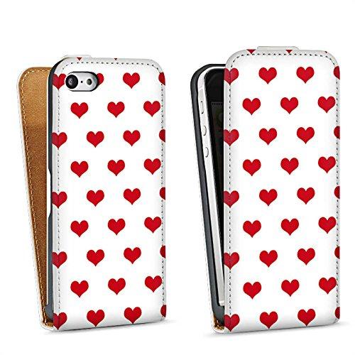 Apple iPhone 5s Housse Étui Protection Coque Polka c½urs Petit c½ur Fête de la bière Sac Downflip blanc