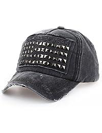 Distressed Vintage Rivet Nieten Kappe Cap Trucker Cap schwarz