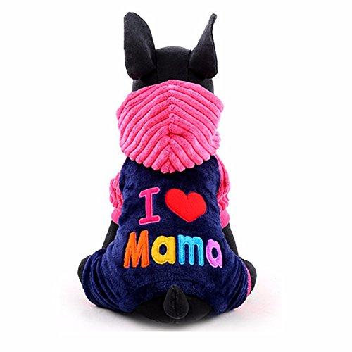 e Pullover Hundekleidung Weihnachten Winter Warme Mantel Hoodie Jumpsuit Jacken XXS-L Rose XXS (Mantel Dekorationen Für Weihnachten)