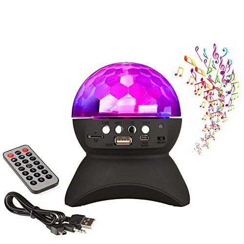 Veeki B51 Bluetooth-Lautsprecher-Kristallkugel - drehbares LED Disco-Stroboskoplicht, 6mehrfarbig wechselnde Kristallleuchten, kabelloser Bluetooth-Lautsprecher, für Party, Disco, Halloween, Geburtstag, Weihnachten