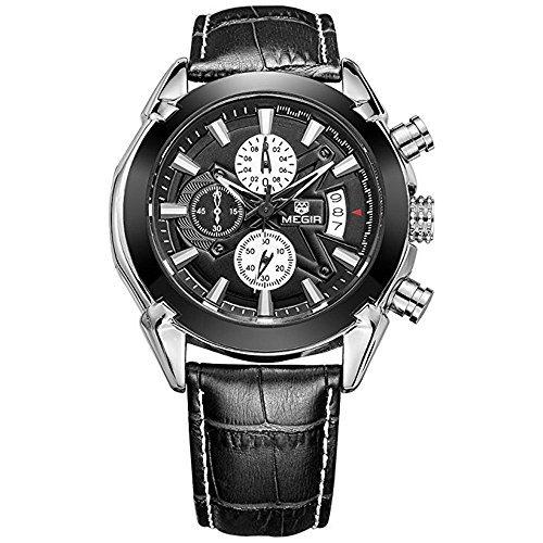 Mens Military 3 Sub-dials Waterproof Luminous Chronograph Quartz Wrist Watches with Leather Strap M2020BK