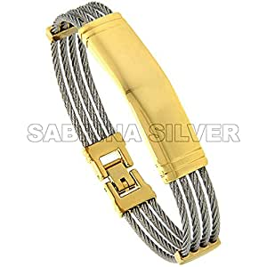 Stainless Steel 2-Tone Cable ID Bangle Bracelet, (12 mm) wide, 7 in/17.80 cm Long