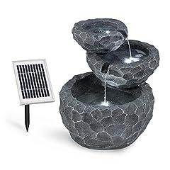 Idea Regalo - blumfeldt Murach - Fontana a Cascata Solare, Fontana da Giardino, Illuminazione a LED, Pannello Solare 2kW, Batteria da 2000mAh, in poliresina Resistente al Gelo