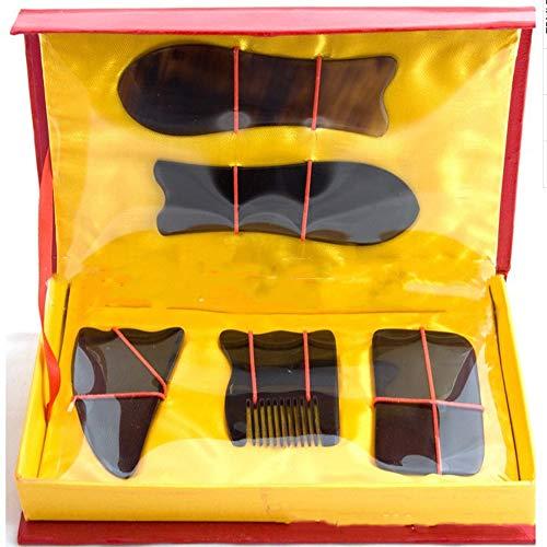 PKJI SchwarzeS Horn Kamm Scraping Board Set Schwarze Hörner fünfteilige Scraping Massage Tool Hand-Made Behandlung -