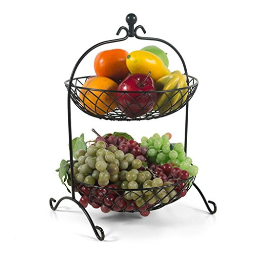Früchtekorb XM ZfgG Kreative Mode Obstkorb Wohnzimmer Obstschale Metall Zwei Tier Obstteller Eisen Blume Körbe Küche Racks Getrocknete Obstschale, 46 * 28 cm (Farbe : Schwarz) (2-tier-korb)