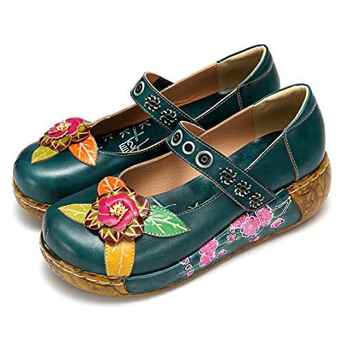 Gracosy Merceditas cuña Zapatos Mujer Cuero Verano
