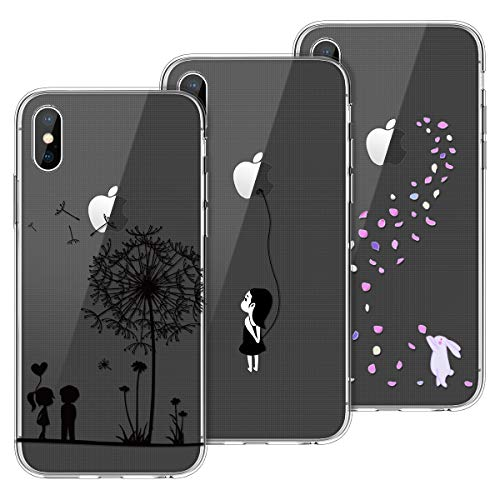 Yokata Kompatibel mit iPhone X Hülle Silikon Transparent Durchsichtig Handyhülle Schutzhülle TPU Ultra Dünn Slim Kratzfest mit Motiv Muster [3 Packs] - Löwenzahn + Weißer Hase + Mädchen