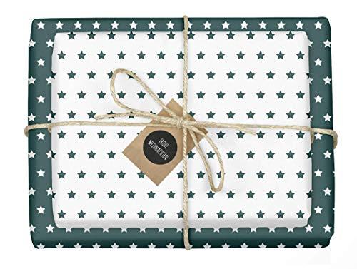 """4x zweifarbiges Geschenkpapier""""Weihnachten: Sterne grün-weiß"""" + 4x Anhänger (doppelseitige Bögen DIN A2, Öko-Recycling-Papier)"""