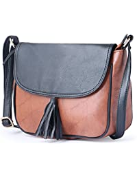 Italiansheer Satchels With Long Sling Strap Bag Having Double Tone Shade For Women & Girls ( Black::Tan)