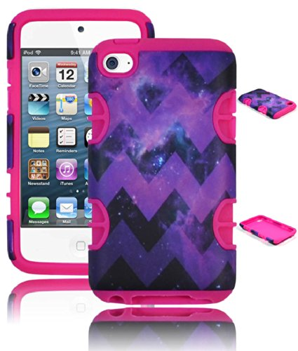 Bastex Heavy Duty Hybrid Dual Armor Cosmos Platz Aztec Chevron Case für Apple iPod Touch 4, 4. Generation, Cover