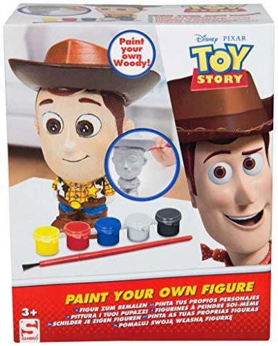 Disney Pixar Set de Pinturas para Figuras Woody de Toy Story | Juego de Manualidades con 5 Pinturas, Figura 14 cm de Escayola, Pincel, Guía Colores | Pintar Personajes para Niños Desde los 3 años