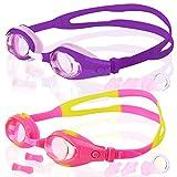 COOLOO [ 2-PACK ] Occhialini da nuoto per bambini, confezione da 2, occhiali da nuoto per bambini, ragazzi, junior, ragazze e ragazzi da 3 a 15 anni, anti-fog, impermeabile, protezione UV, prodotto