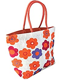 Flower Print Jute Tote Hand Bag With Inner Zipper Pocket - Orange (17.5X8X14 Inch)