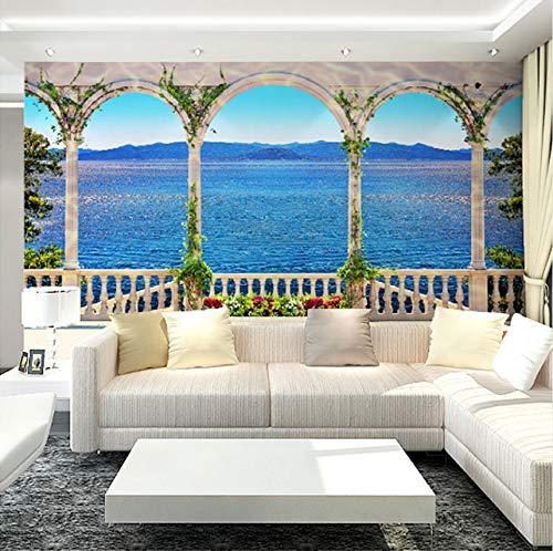 Rureng Custom Wall Mural Wallpaper 3D Ventana Vista Al Mar Gran Pintura De La Pared Sala De Estar Sofá Tv Fondo Paja Patrón Wallpaper Moderno-200X140Cm