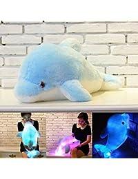 Forma colorido de la felpa de luz LED Blue Dolphin almohadilla de tiro