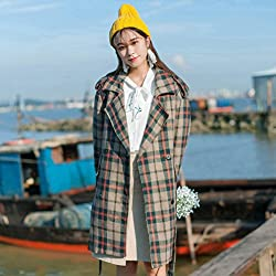MO Autumn and Winter Fashion Temperament Plaid Coat in the Long Section of His Coat Female from MO