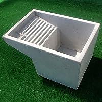 Mastro Gabriele – Lavoir en ciment gris pour laver le linge, 73 x 43 x 35 cm (H)