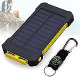 Solar Ladegerät, 10000mAh Dual USB Port Externe Akku, Wasserdichtes Staubdicht und Stoßfeste Tragbare Energienbank Handy-Ladegerät mit LED Licht für Camping Wandern und andere Outdoor Aktivitäten (Gelb)